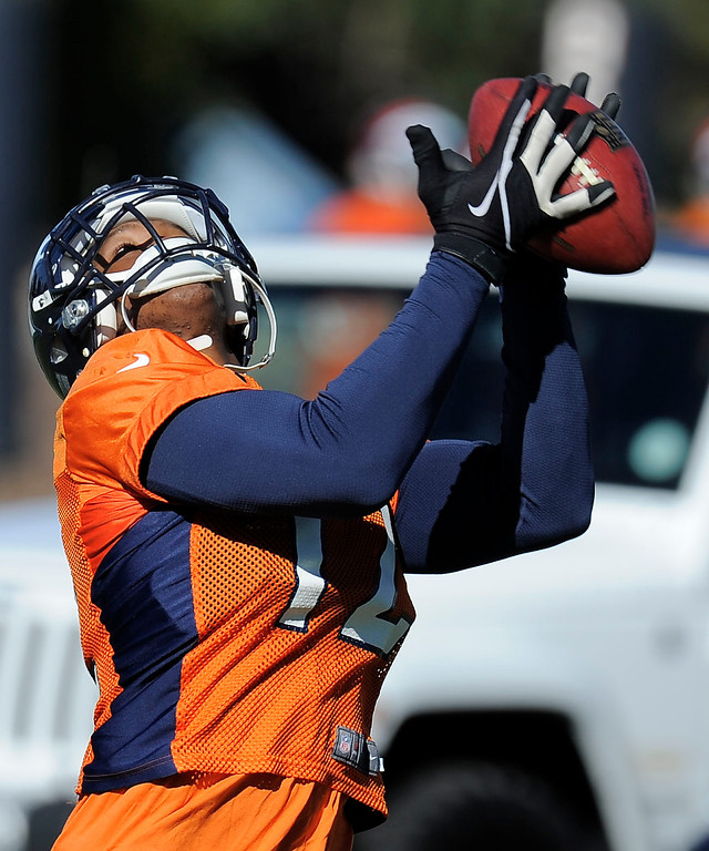 . ENGLEWOOD, CO - OCTOBER 27: Denver Broncos Damaryius Thomas (88) catches a pass during practice on October 30, 2013 at Dove Valley. The players swapped jerseys for Halloween. (Photo by John Leyba/The Denver Post)
