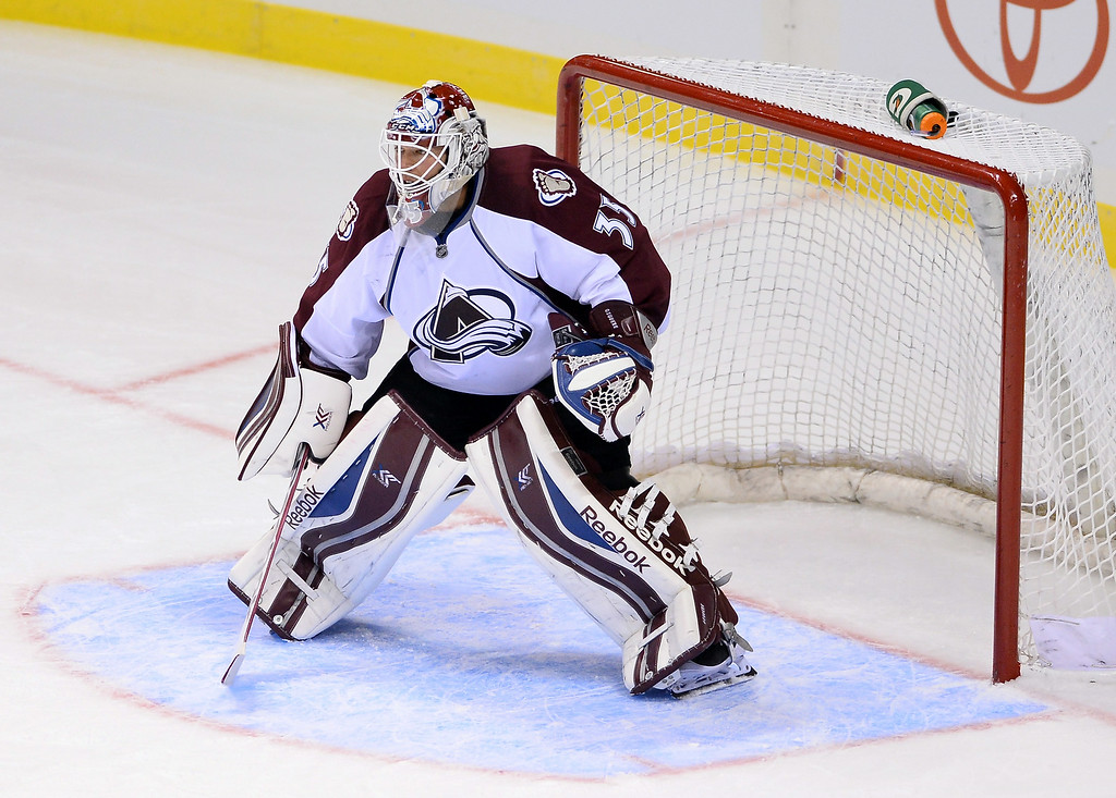 . Goalie Jean-Sebastien Giguere #35 of the Colorado Avalanche stands ready during a preseason game against the Los Angeles Kings at the MGM Grand Garden Arena on September 28, 2013 in Las Vegas, Nevada. Colorado won 3-2.  (Photo by Ethan Miller/Getty Images)