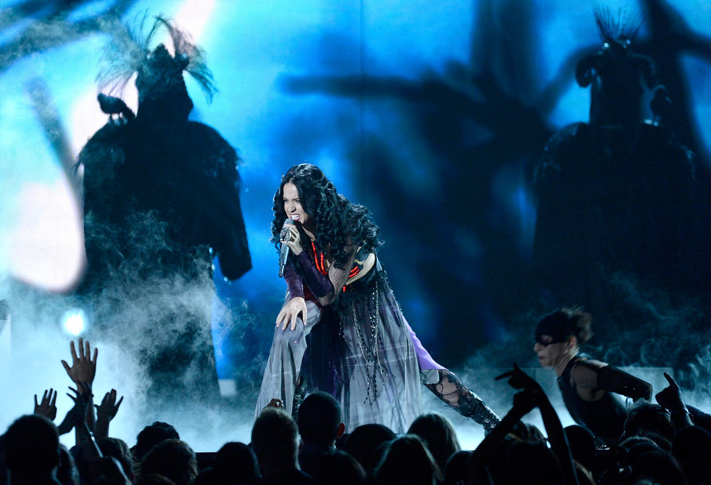 . Singer Katy Perry performs onstage during the 56th GRAMMY Awards at Staples Center on January 26, 2014 in Los Angeles, California.  (Photo by Kevork Djansezian/Getty Images)