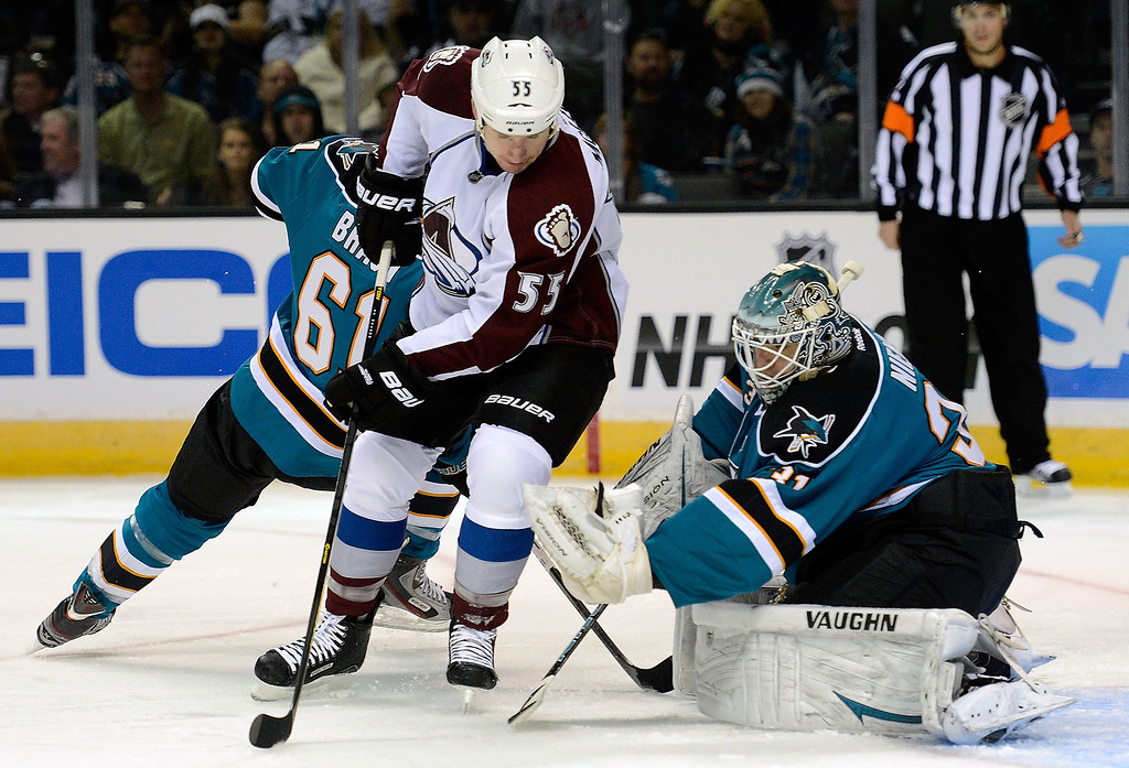 . Goalkeeper Antti Niemi #31 of the San Jose Sharks defends the goal stopping the shot of Cody McLeod #55 of the Colorado Avalanche in the first period at HP Pavilion on February 26, 2013 in San Jose, California.  (Photo by Thearon W. Henderson/Getty Images)