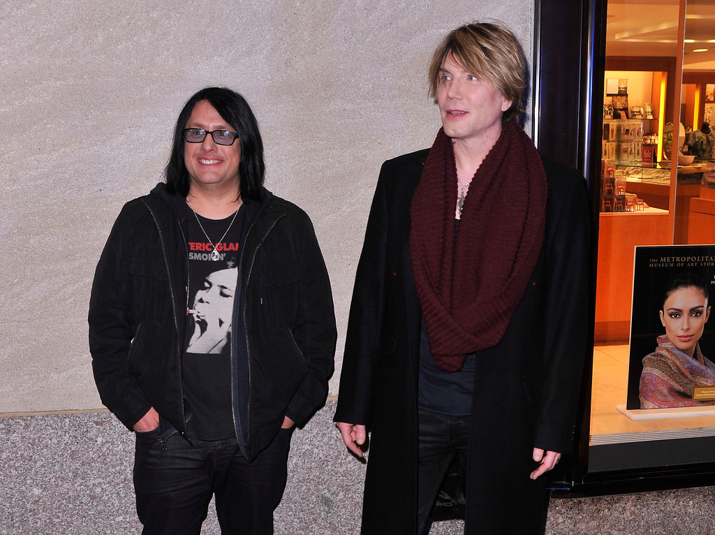 . Robby Takac, left, and John Rzeznik of the Goo Goo Dolls arrives during 81st Annual Rockefeller Center Christmas Tree Lighting Ceremony at Rockefeller Center on December 4, 2013 in New York City.  (Photo by Stephen Lovekin/Getty Images)