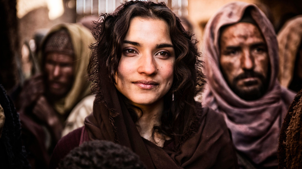 . Mary Magdalene, played by Amber Rose Revah Photo by ©2012 A+E Networks, LLC / Photo Credit: Joe Alblas, Copyright 2011
