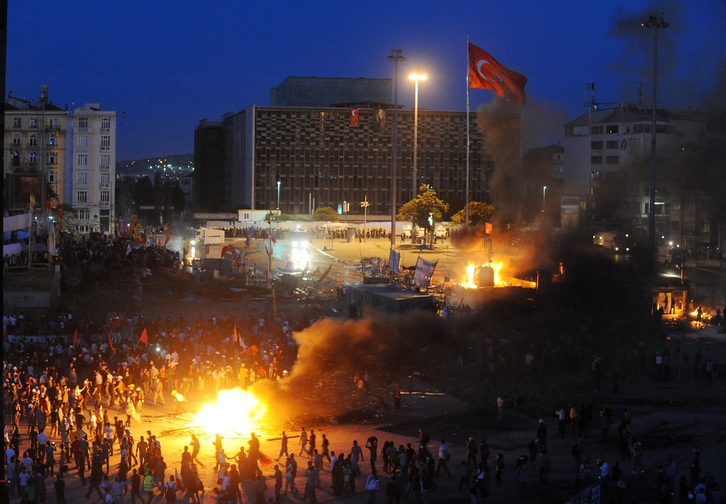 . Protestors clash with Turkish riot policemen on Taksim square on June 11, 2013.  AFP PHOTO / BULENT  KILIC/AFP/Getty Images