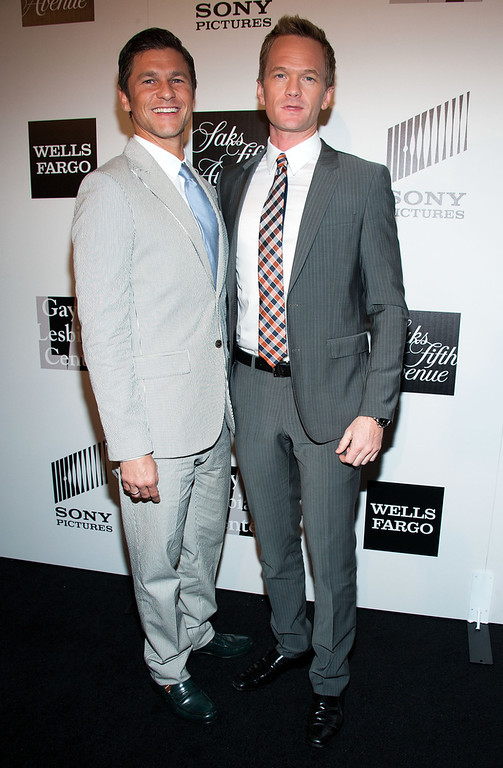 """. David Burtka and Neil Patrick Harris (R) arrives at \""""An Evening\"""" Benefiting The L.A. Gay & Lesbian Center at the Beverly Wilshire Four Seasons Hotel on March 21, 2013 in Beverly Hills, California. (Photo by Valerie Macon/Getty Images)"""