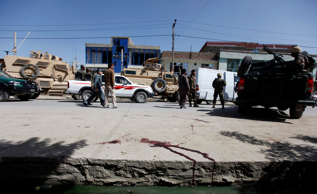 . Blood is seen on the ground at the site of a suicide attack in Kabul May 16, 2013.  REUTERS/Mohammad Ismail