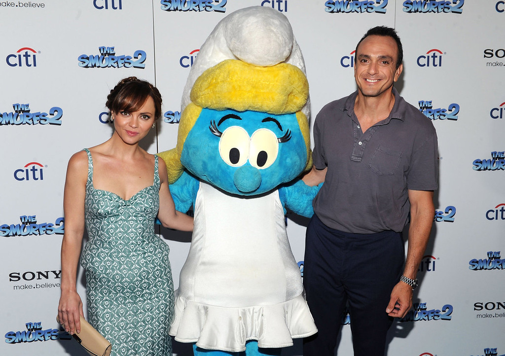 """. Christina Ricci and Hank Azaria attend \""""The Smurfs 2\"""" New York Blue Carpet Screening at Lighthouse International Theater on July 28, 2013 in New York City.  (Photo by Craig Barritt/Getty Images)"""