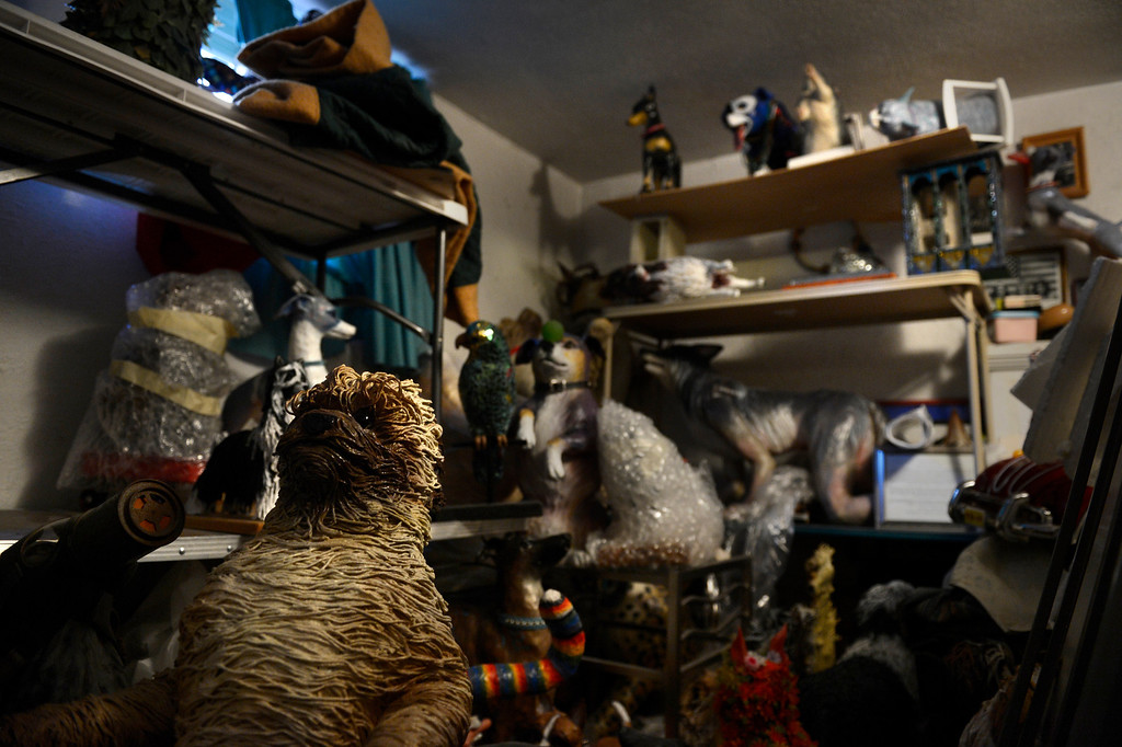 . Edgewater, CO. - January 28:  The kennel / stable where artist Dede LaRue keeps all of her finished work in her home studio in Edgewater, Colorado. January 28, 2013. (Photo By Joe Amon / The Denver Post)