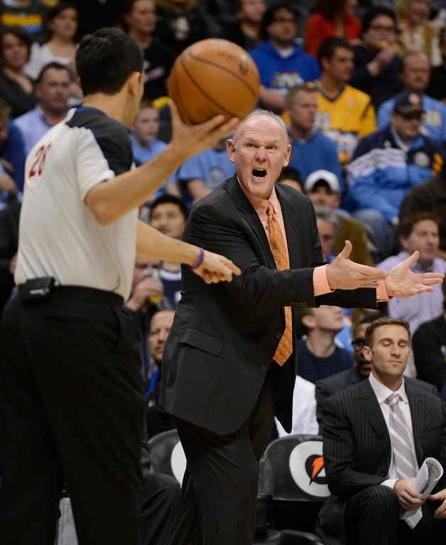 . DENVER, CO. - JANUARY 20: Denver Nuggets head coach George Karl screams at referee Zach Zarba (28) after calling a foul during the first quarter January 20,  2013 at Pepsi Center. The Denver Nuggets defeated the Oklahoma City Thunder 121-118. (Photo By John Leyba / The Denver Post)