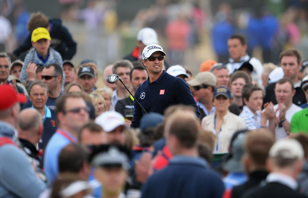 . Adam Scott of Australia watches his tee shot on the 11th hole during the final round of the 142nd Open Championship at Muirfield on July 21, 2013 in Gullane, Scotland.  (Photo by Stuart Franklin/Getty Images)