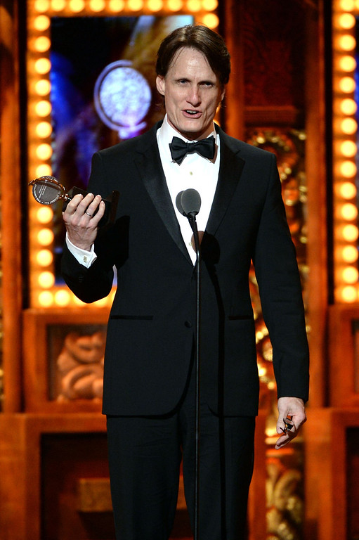 ". John Shivers accepts award for Best Sound Design for ""Kinky Boots\"" onstage at The 67th Annual Tony Awards at Radio City Music Hall on June 9, 2013 in New York City.  (Photo by Andrew H. Walker/Getty Images for Tony Awards Productions)"