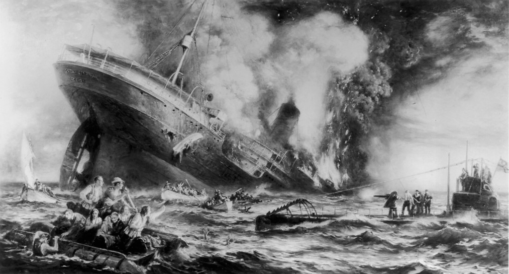 . May, 7th 1915:  Illustration of the sinking of the Cunard ocean liner \'Lusitania\' by a German submarine off the Old Head of Kinsale, Ireland.  (Photo by Three Lions/Getty Images)