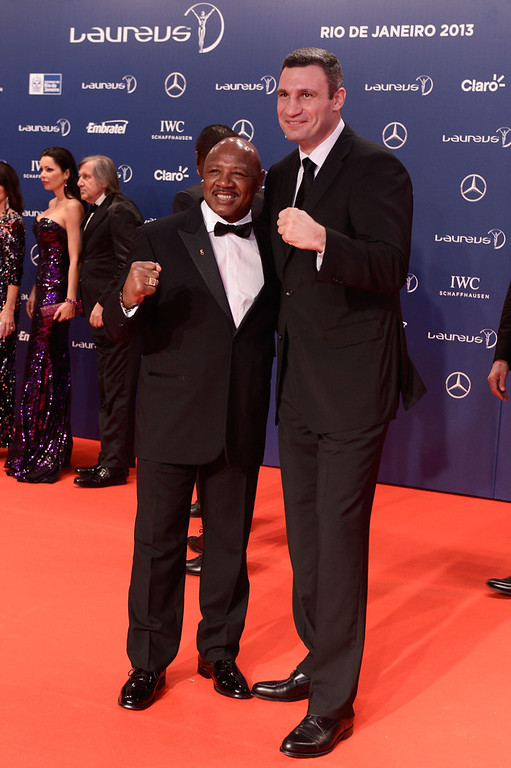 . Marvin Hagler and Vladimir Klitschko attends the 2013 Laureus World Sports Awards at the Theatro Municipal Do Rio de Janeiro on March 11, 2013 in Rio de Janeiro, Brazil.  (Photo by Buda Mendes/Getty Images For Laureus)