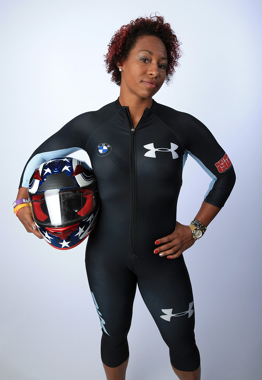 . Bobsledder Jazmine Fenlator poses for a portrait during the USOC Media Summit ahead of the Sochi 2014 Winter Olympics on September 29, 2013 in Park City, Utah.  (Photo by Doug Pensinger/Getty Images)