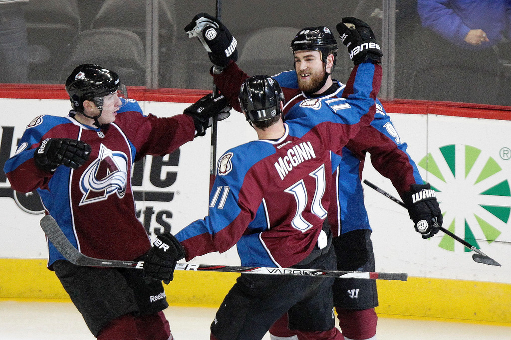 . Colorado Avalanche\'s Ryan O\'Reilly, right, is congratulated by teammates Matt Duchene, left, and Jamie McGinn, center, during the first period of an NHL hockey game against the Minnesota Wild on Thursday, Jan. 30, 2014, in Denver. (AP Photo/Barry Gutierrez)