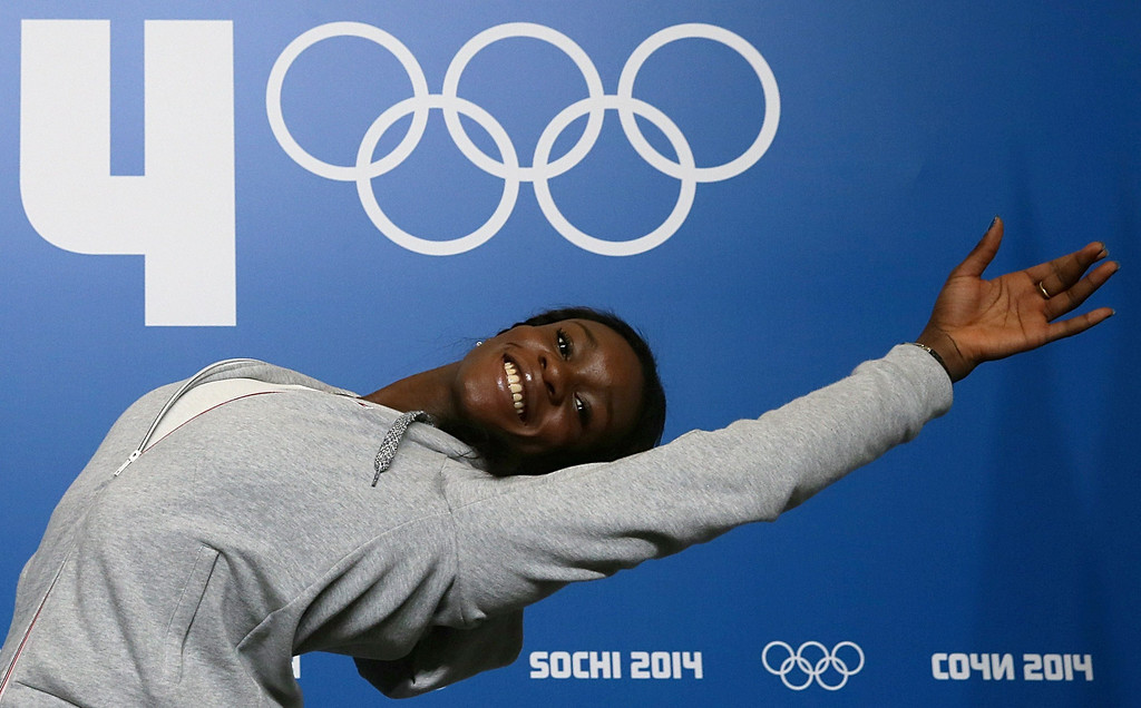 . France\'s figure skater Mae-Berenice Meite poses during a press conference in Chekhov Hall at the Main Media Center in Sochi on February 5, 2014 ahead of the 2014 Sochi Winter Olympics.  AFP PHOTO / LOIC VENANCE/AFP/Getty Images