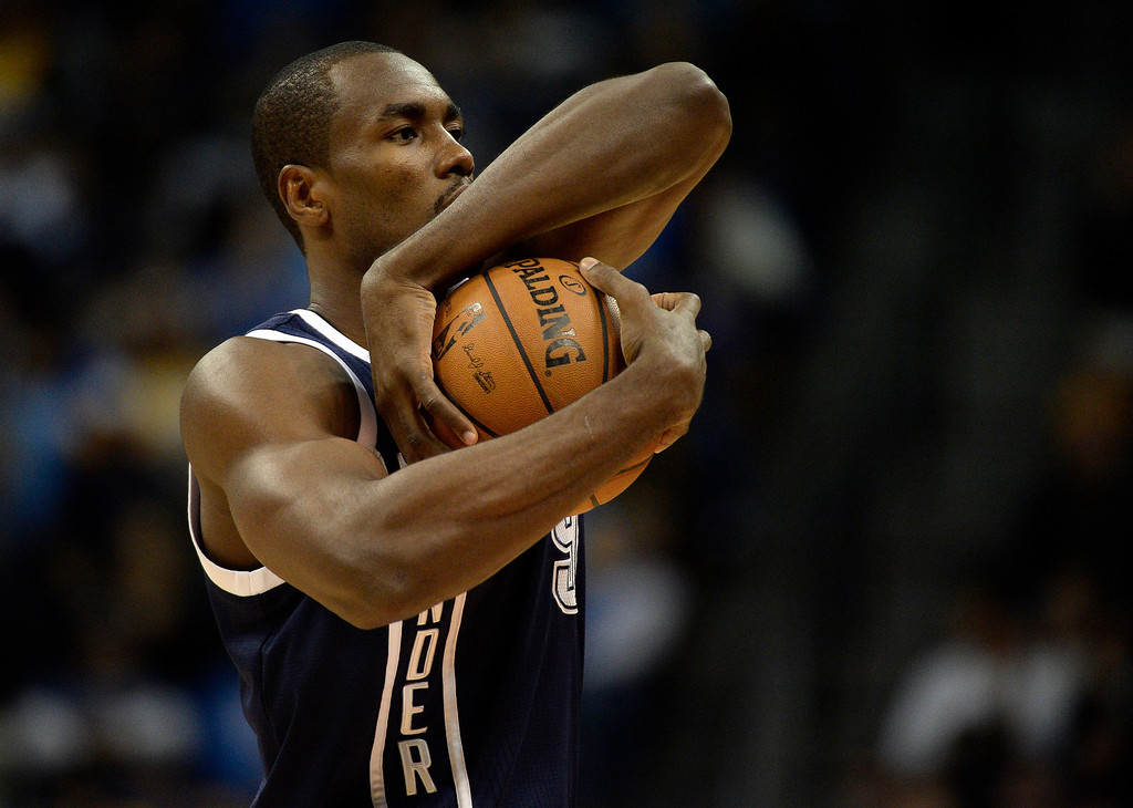. Oklahoma City Thunder power forward Serge Ibaka (9) gets ready for the game against the Denver Nuggets January 9, 2014 at Pepsi Center. (Photo by John Leyba/The Denver Post)