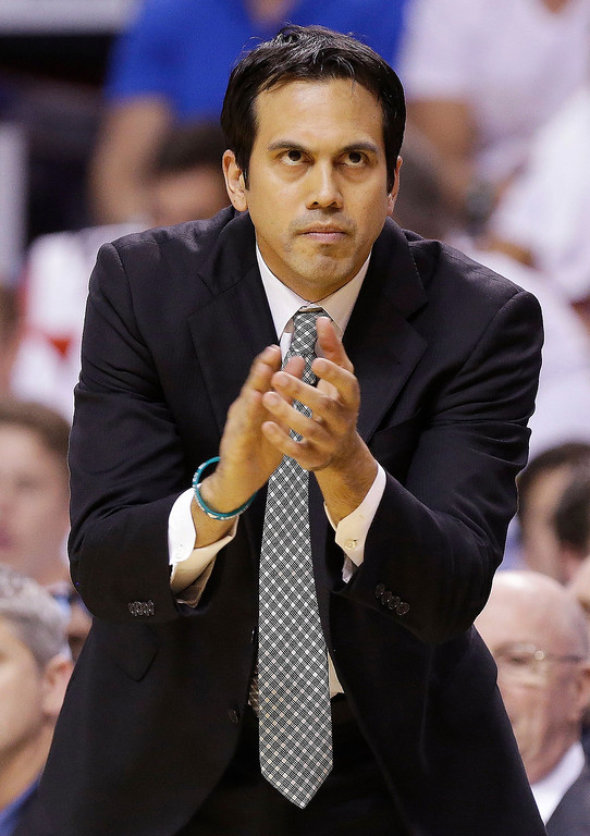 . Miami Heat head coach Erik Spoelstra reacts to play against the San Antonio Spurs during the first half of Game 1 of basketball\'s NBA Finals, Thursday, June 6, 2013 in Miami. (AP Photo/Lynne Sladky)