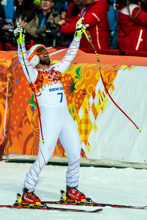 . KRASNAYA POLYANA, RUSSIA  - JANUARY 9: Travis Ganong, of Squaw Valley, reacts after competing in the Men\'s Downhill race at Rosa Khutor Alpine Center during the 2014 Sochi Olympic Games Sunday February 9, 2014. (Photo by Chris Detrick/The Salt Lake Tribune)