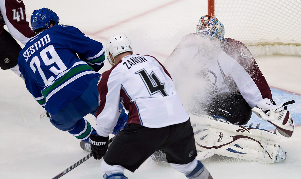 . Vancouver Canucks\' Tom Sestito, left, showers Colorado Avalanche goalie Semyon Varlamov, of Russia, with ice as he comes to a stop to avoid a collision while Colorado\'s Greg Zanon (4) defends during the second period of an NHL hockey game in Vancouver, British Columbia, on Thursday, March 28, 2013. (AP Photo/The Canadian Press, Darryl Dyck)