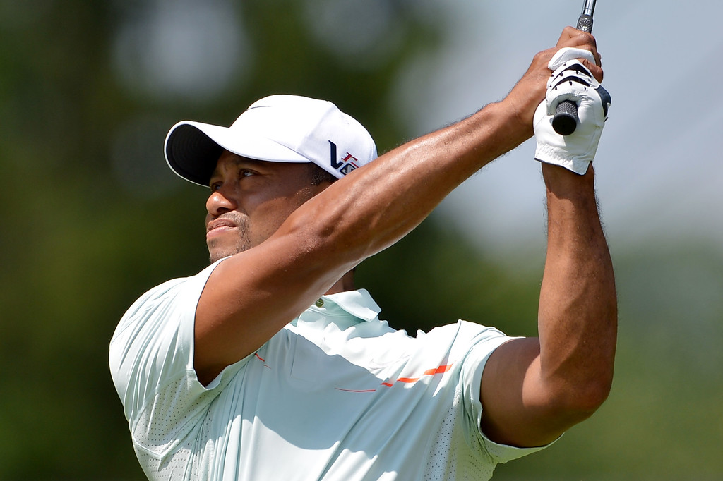 . Tiger Woods of the United States hits his tee shot on the second hole during Round Three of the 113th U.S. Open at Merion Golf Club on June 15, 2013 in Ardmore, Pennsylvania.  (Photo by Drew Hallowell/Getty Images)