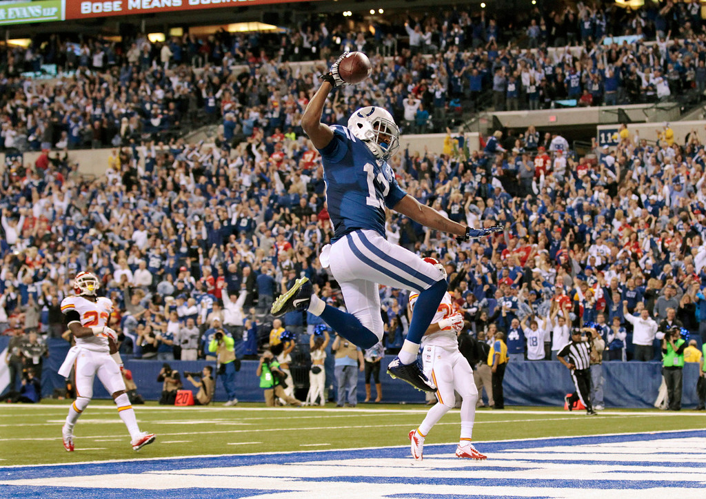 . Indianapolis Colts wide receiver T.Y. Hilton (13) makes a touchdown to move ahead of Kansas City Chiefs 45-44 during the second half of an NFL wild-card playoff football game Saturday, Jan. 4, 2014, in Indianapolis. (AP Photo/AJ Mast)