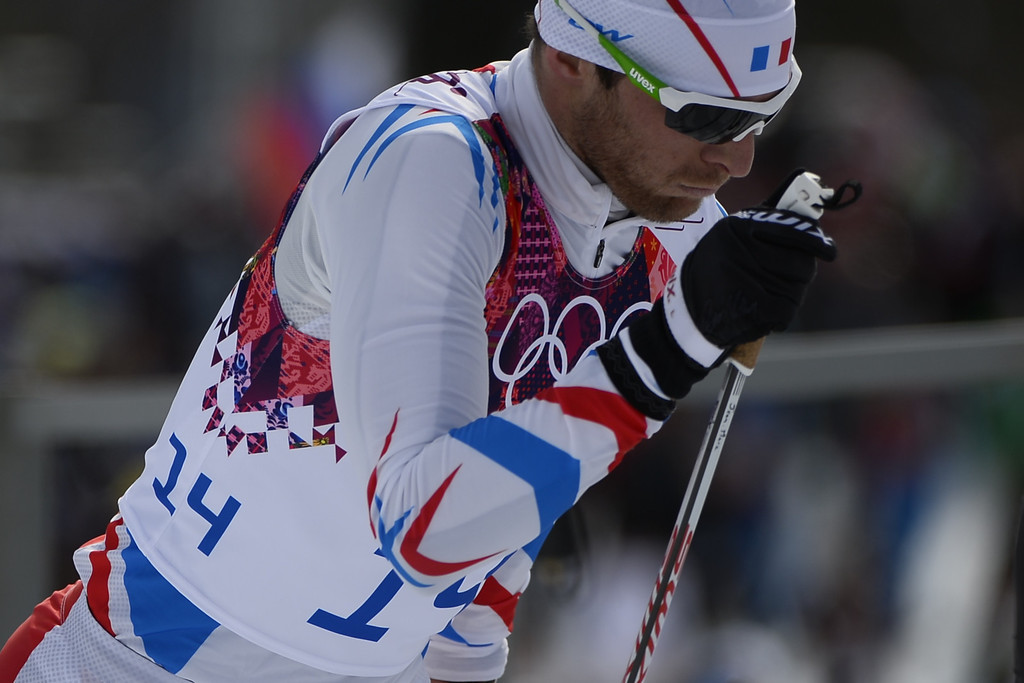 . France\'s Jean-Marc Gaillard competes in the Men\'s Cross-Country Skiing 15km + 15km Skiathlon at the Laura Cross-Country Ski and Biathlon Center during the Sochi Winter Olympics on February 9, 2014, in Rosa Khutor.  PIERRE-PHILIPPE MARCOU/AFP/Getty Images