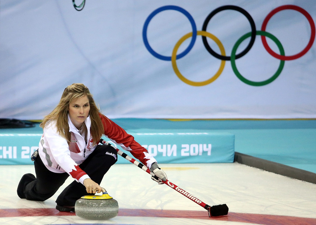 . Jennifer Jones of Canada in action during the Round Robin match between Canada and USA in the Women\'s Curling Competition in the Ice Cube Curling Center at the Sochi 2014 Olympic Games, Sochi, Russia.  EPA/TATYANA ZENKOVICH
