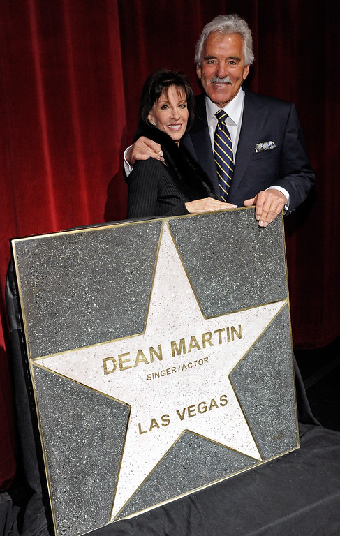 . Singer Deana Martin (L), daughter of Dean Martin, and actor Dennis Farina appear during a Las Vegas Walk of Stars dedication ceremony for entertainment legends Frank Sinatra and Dean Martin at the Flamingo Las Vegas February 22, 2010 in Las Vegas, Nevada. The stars will eventually be placed on the sidewalk in front of the Flamingo.  (Photo by Ethan Miller/Getty Images)
