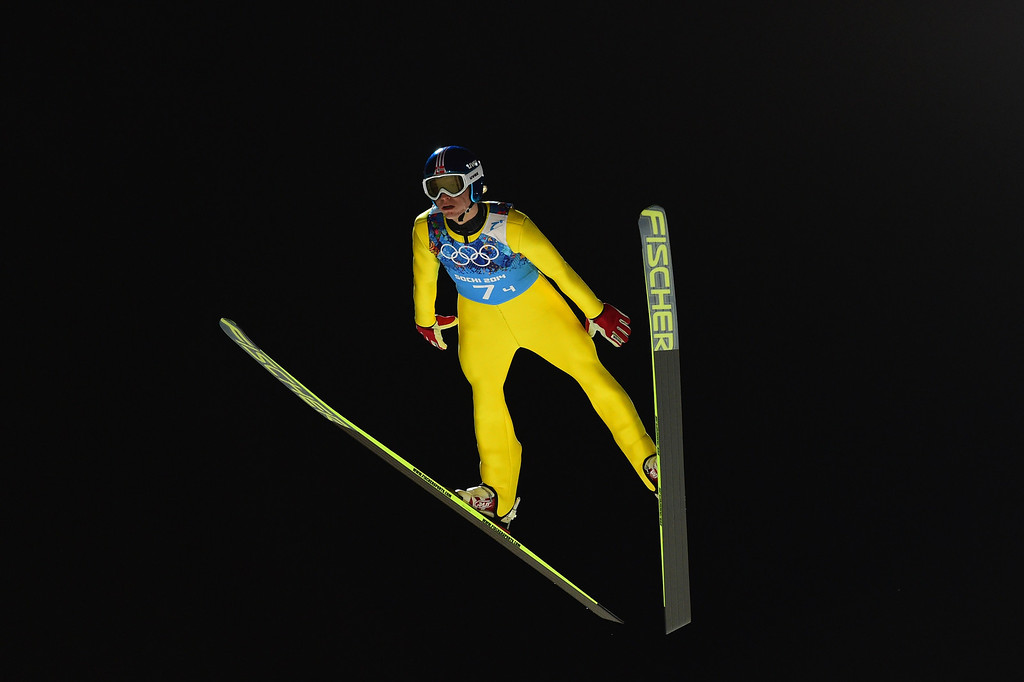 . Norway\'s Rune Velta  attends the Men\'s Ski Jumping Team trial round at the RusSki Gorki Jumping Center during the Sochi Winter Olympics on February 17, 2014, in Rosa Khutor, near Sochi.  AFP PHOTO / JOHN MACDOUGALL/AFP/Getty Images