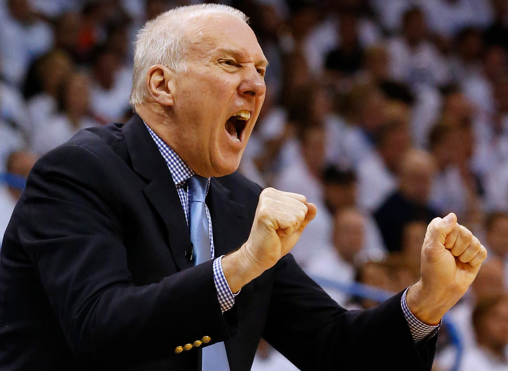 . San Antonio Spurs coach Gregg Popovich shouts from the sideline during the first half against the Oklahoma City Thunder in Game 6 of the Western Conference finals NBA basketball playoff series, in Oklahoma City, Saturday, May 31, 2014. (AP Photo/Sue Ogrocki)