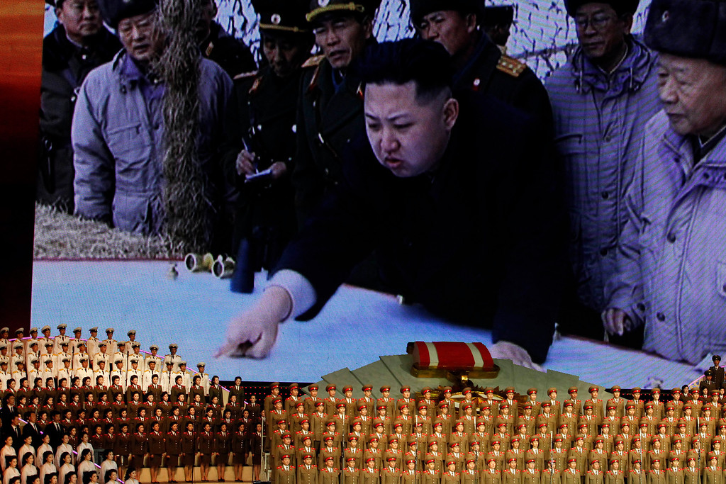 . In this April 24, 2012 file photo, North Korea\'s new commander in chief, Kim Jong Un is displayed on a giant screen during a concert on the eve of the 80th anniversary of the founding of the North Korean army in Pyongyang, North Korea. (AP Photo/Ng Han Gua, File)