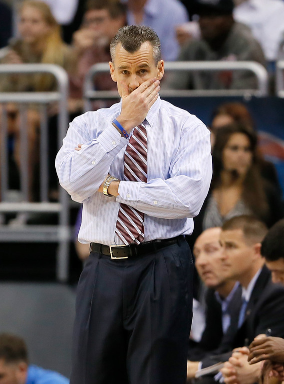 . ORLANDO, FL - MARCH 20:  Head coach Billy Donovan of the Florida Gators looks on in the first half while taking on the Albany Great Danes during the second round of the 2014 NCAA Men\'s Basketball Tournament at Amway Center on March 20, 2014 in Orlando, Florida.  (Photo by Kevin C. Cox/Getty Images)