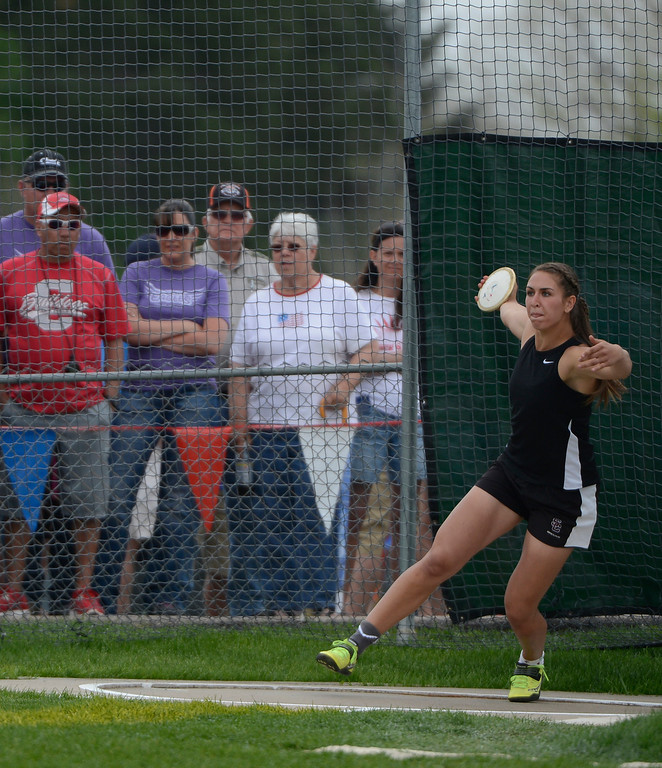""". LAKEWOOD, CO - MAY 18:  Valerie Allman, Silver Creek High School, competes during the girls 4A discus throw at the Colorado State Track and Field Championships at Jeffco Stadium, Saturday morning, May 18, 2013. Allman\'s longest throw was 167\' 3\"""", a meet record.  (Photo By Andy Cross/The Denver Post)"""