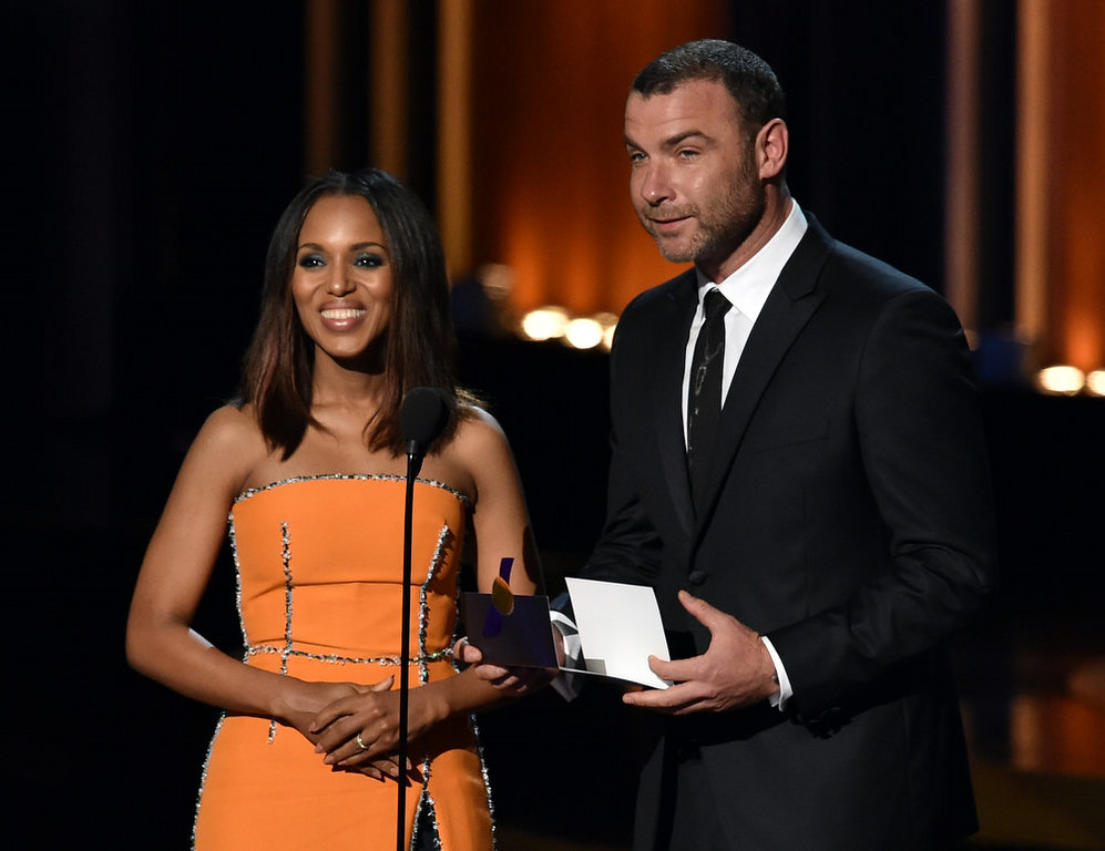 . Actors Kerry Washington (L) and Liev Schreiber speak onstage at the 66th Annual Primetime Emmy Awards held at Nokia Theatre L.A. Live on August 25, 2014 in Los Angeles, California.  (Photo by Kevin Winter/Getty Images)