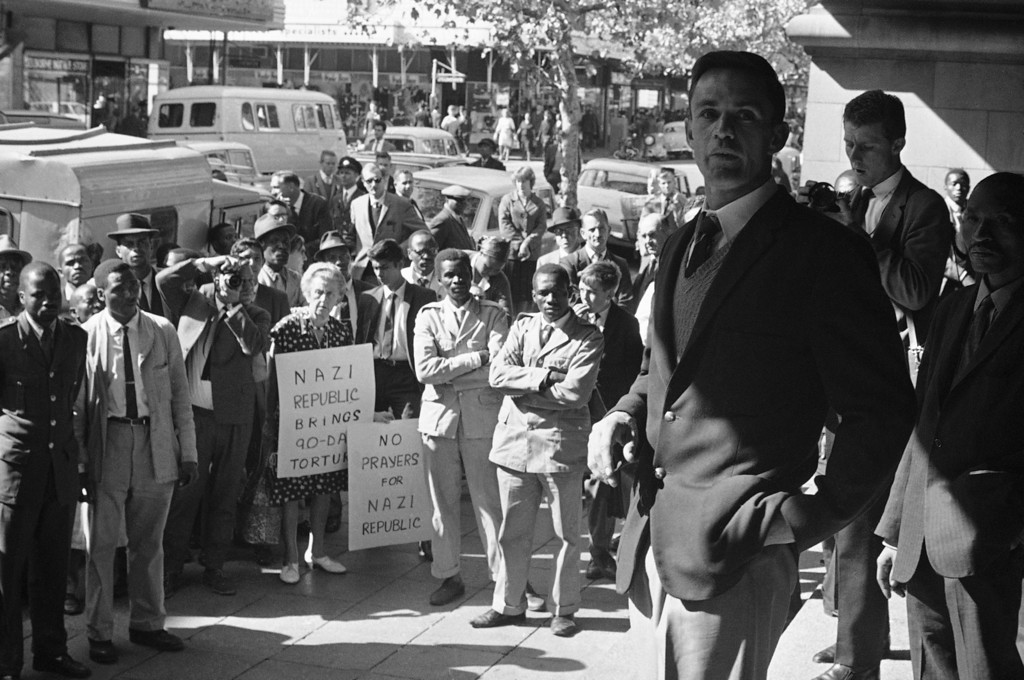 . Led by the reverend Leslie Stradling, leaders of Methodist and Congregational churches held a protest rally in the Johannesburg Town Hall, May 20, 1964, to protest against South Africa\'s ninety-day law which enables police to detain and question suspects for up to 90 days without trial and be held in solitary confinement.  (AP Photo/Dennis Lee Royle)