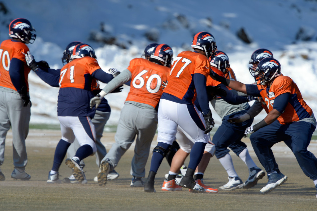 . Denver Broncos gets in some reps during practice January 23, 2014 at Dove Valley.   (Photo by John Leyba/The Denver Post)