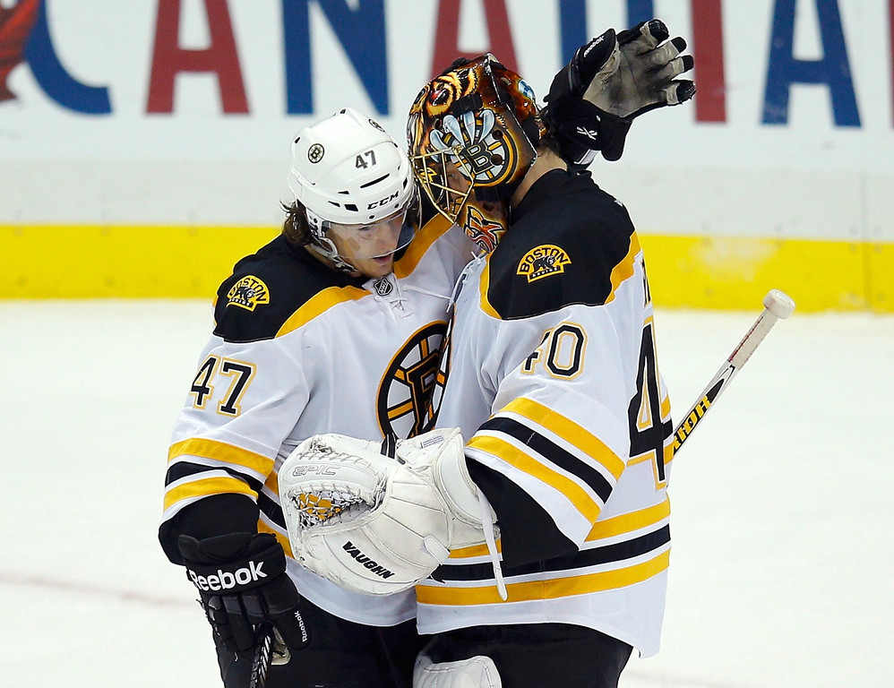 . Boston Bruins goalie Tuukka Rask (40) gets a hug from teammate Torey Krug (L) after their team defeated the Pittsburgh Penguins in Game 2 of their NHL Eastern Conference finals hockey playoff series in Pittsburgh, Pennsylvania, June 3, 2013. REUTERS/Brian Snyder