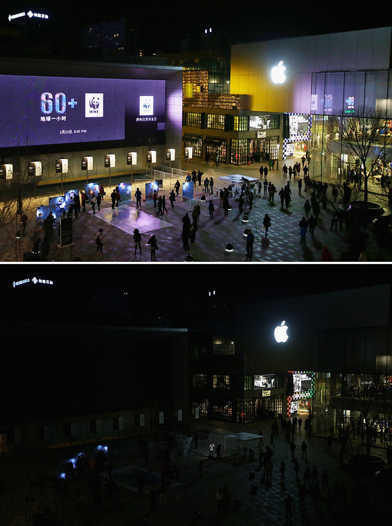 . BEIJING, CHINA - MARCH 23:  This composite photograph shows Sanlitun Village before and during the Earth Hour 2013 power switch off on March 23, 2013 in Beijing, China. Earth Hour, launched in 2007 in Australia by the World Wide Fund for Nature (WWF), a global conservation group, calls on people, organizations and cities to turn off their non-essential lights for one hour starting at 8:30 p.m. local time.  (Photo by Feng Li/Getty Images)
