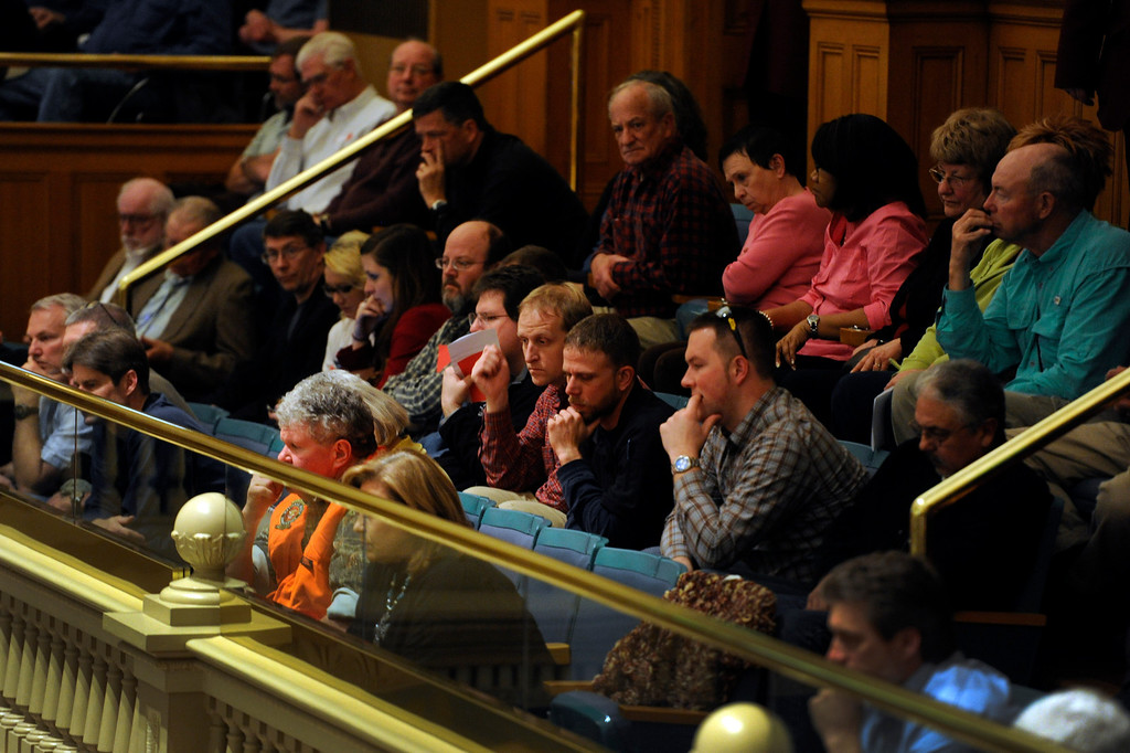 . DENVER, CO. - MARCH 8: Almost every seat is taken in the Senate Gallery to listen to the debate. Debate begins on the Senate floor at the state capitol on various gun bills before the state legislature. (Photo By Kathryn Scott Osler/The Denver Post)