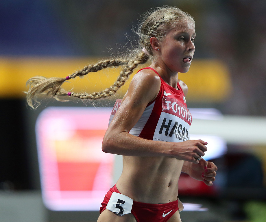 . Jordan Hasay of the United States  competes in the Women\'s 10000 final during Day Two of the 14th IAAF World Athletics Championships Moscow 2013 at Luzhniki Stadium on August 11, 2013 in Moscow, Russia.  (Photo by Ian Walton/Getty Images)