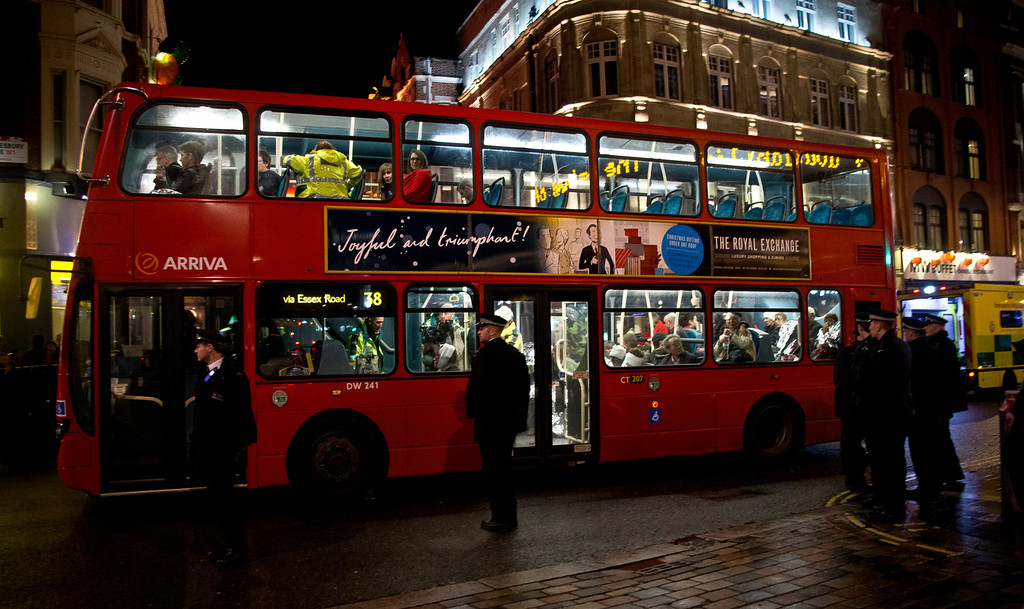 . Shocked and injured theatergoers are transported to hospital in a commandeered London bus  following an incident  during a performance at the Apollo Theatre,  in London\'s Shaftesbury Avenue, Thursday evening, Dec. 19, 2013. It wasn\'t immediately clear which part of the building had collapsed. The London Fire Brigade said the theatre was almost full, with around 700 people watching the show. A spokesman said it was thought  between 20 and 40 people were injured. (AP Photo by Joel Ryan, Invision)