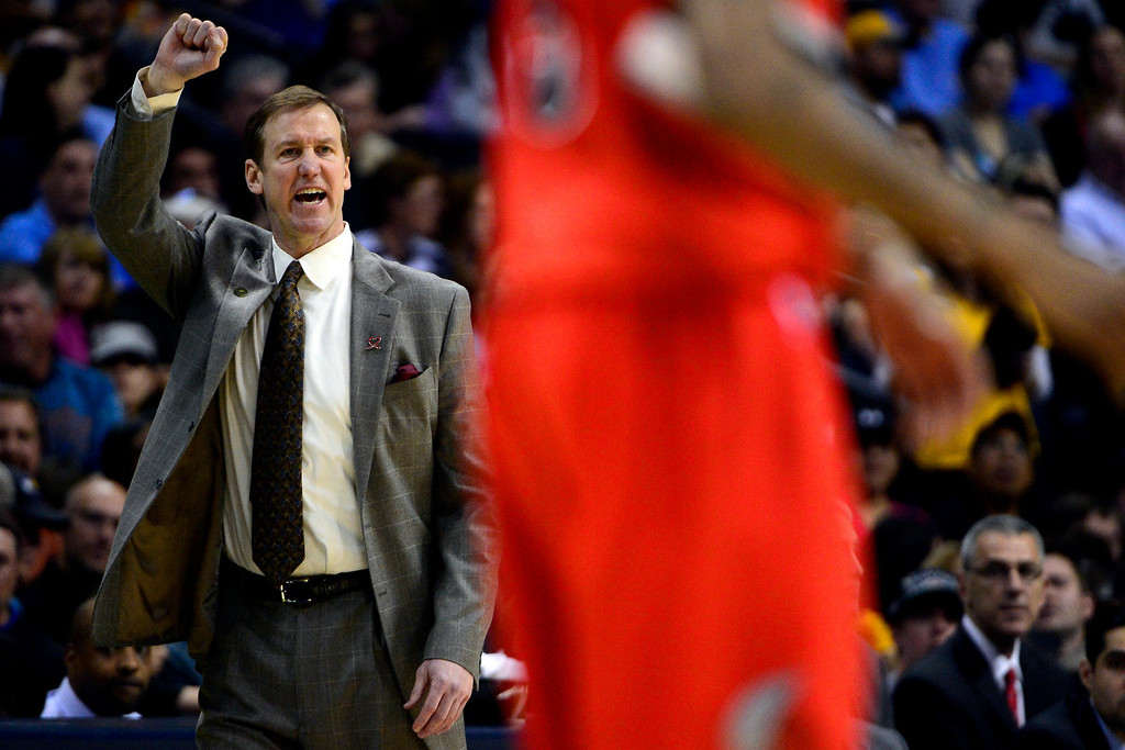 . DENVER, CO - APRIL 14: Terry Stotts of the Portland Trail Blazers calls out a play during the first half of action. The Denver Nuggets play the Portland Trail Blazers at the Pepsi Center. (Photo by AAron Ontiveroz/The Denver Post)