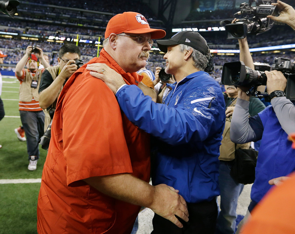 . Kansas City Chiefs head coach Andy Reid, left, and Indianapolis Colts head coach Chuck Pagano meet on the field after an NFL wild-card playoff football game Saturday, Jan. 4, 2014, in Indianapolis. Indianapolis defeated Kansas City 45-44. (AP Photo/Michael Conroy)