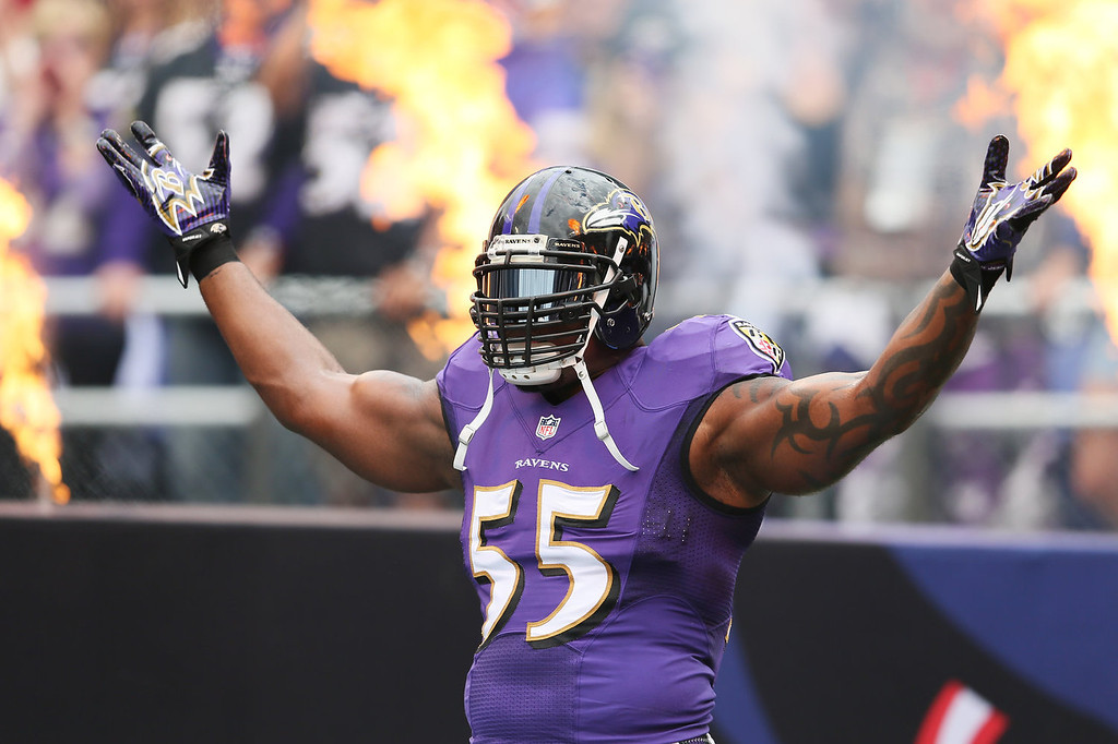 . Outside linebacker Terrell Suggs #55 of the Baltimore Ravens is introduced before the start of the Ravens and Houston Texans game at M&T Bank Stadium on September 22, 2013 in Baltimore, Maryland.  (Photo by Rob Carr/Getty Images)