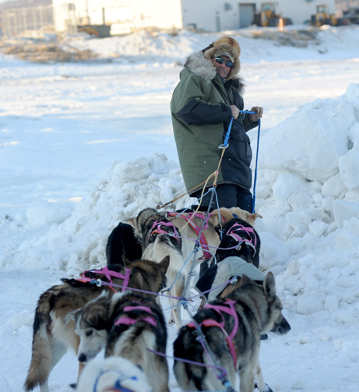 . Sonny Lindner lines out his dogs after coming into the Unalakleet checkpoint at 6:09 PM during the 2014 Iditarod Trail Sled Dog Race on Saturday, March 8, 2014. (AP Photo/The Anchorage Daily News, Bob Hallinen)
