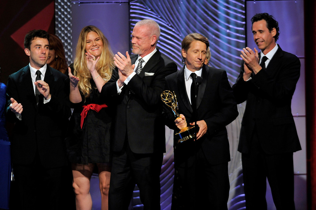 ". The cast and crew of ""The Bold and the Beautiful\"" accept the award for outstanding drama series writing team at the 40th Annual Daytime Emmy Awards on Sunday, June 16, 2013, in Beverly Hills, Calif. (Photo by Chris Pizzello/Invision/AP)"