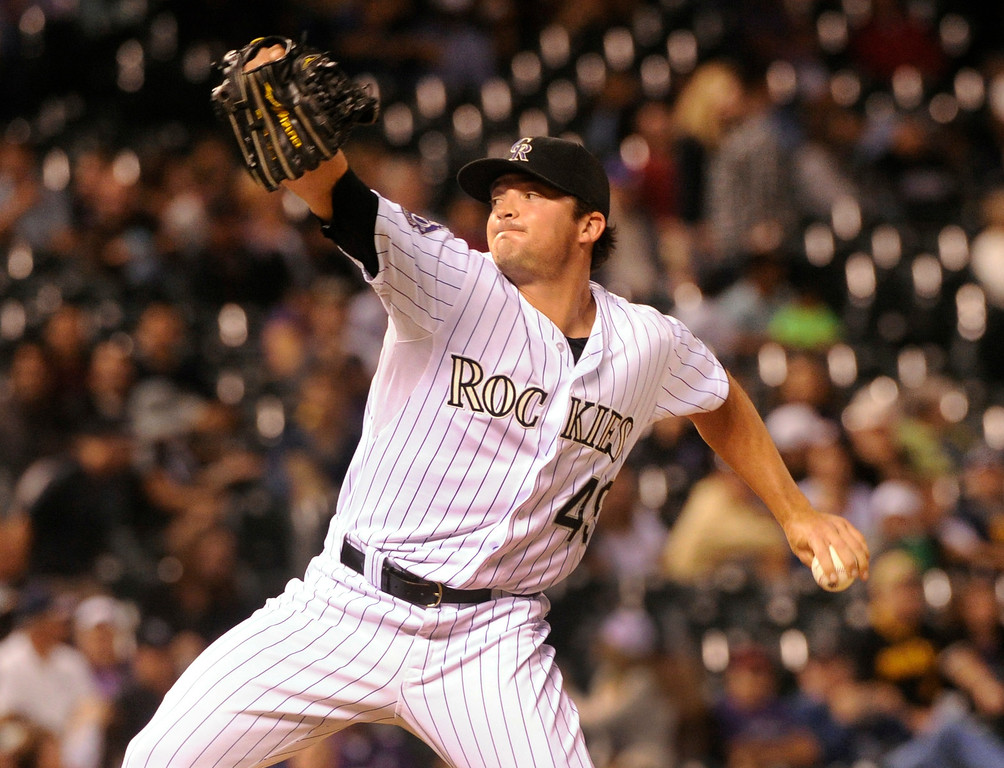 . DENVER, CO. - AUGUST 09: Colorado reliever Rex Brothers pitched in the ninth inning. The Colorado Rockies defeated the Pittsburgh Pirates 10-1 Friday night, August 9, 2013. Photo By Karl Gehring/The Denver Post