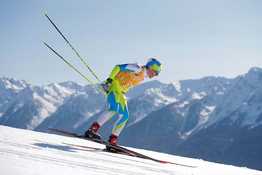 . SOCHI, RUSSIA - FEBRUARY 15:  Barbara Jezersek of Slovenia competes in the Women\'s 4 x 5 km Relay during day eight of the Sochi 2014 Winter Olympics at Laura Cross-country Ski & Biathlon Center on February 15, 2014 in Sochi, Russia.  (Photo by Adam Pretty/Getty Images)