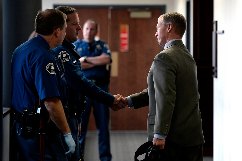 . CENTENNIAL, CO. - APRIL 10: District Attorney George Brauchler arrives to the hearing for Fox News reporter Jana Winter for protecting her sources in a story connected to mass murderer James Holmes at the Arapahoe County Justice Center April 10, 2013 Centennial, Colorado. (Photo By Joe Amon/The Denver Post)