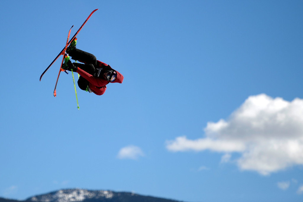 . Russ Henshaw rides during the men\'s ski slopestyle final. X Games Aspen at Buttermilk on Friday, January 25, 2014. (Photo by AAron Ontiveroz/The Denver Post)